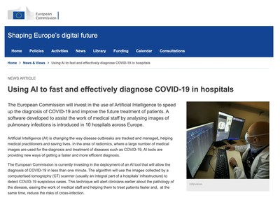 European Commission's story for InferVision: Using AI to fast and effectively diagnose COVID-19 in hospitals